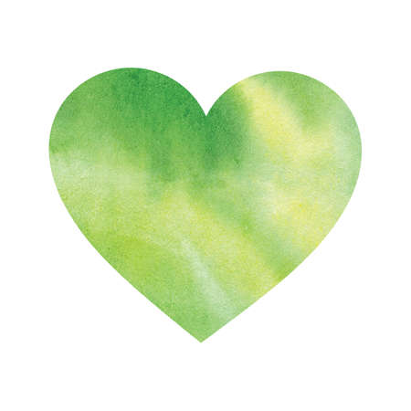 Watercolor green heart isolated on white background. Ecological concept, protection of nature, love of the forest and plants. Wet paint brush item for map, print, icon, text, label, icon Stock fotó - 129764358