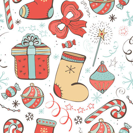 Cute vector seamless pattern with many icons for happy New year and Christmas. Holiday background with gift, Christmas balls, gift box, snowflakes, candy, Lollipop, decoration, Wallpaper.