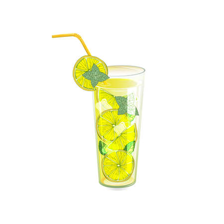 Refreshing summer cocktails. Lemonade. Drink with ice. Image for summer design. Illustration on white background. Archivio Fotografico - 129763989