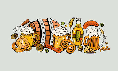 Cartoon cute colorful vector hand drawn Doodle beer fest corporate identity. Sausage, beer, barrel, pretzel, hops, sausage. A lot of subjects on the subject of beer. horizontal design banners