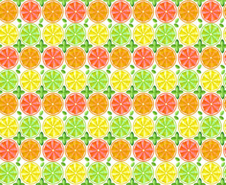 Seamless background. Conceptual polygonal fruit, lemon, orange, grapefruit and lime. Abstract vector illustration of low poly style. Stylized design element. Summer color pattern. 写真素材