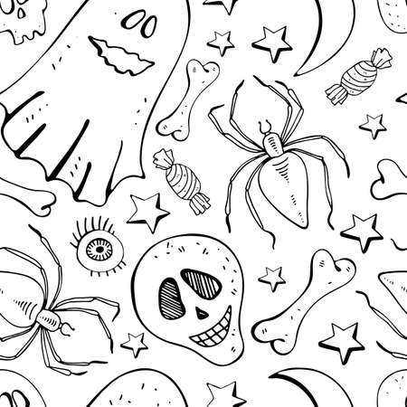 Seamless background in vector bone, skull, spider, Ghost, star, eye. Black and white background line. Hand drawn design for textile, paper, Wallpaper, packaging. Doodle style. Festive decoration