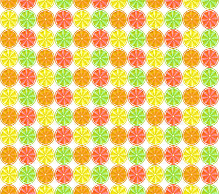 Seamless background. Conceptual polygonal fruit, lemon, orange, grapefruit and lime. Abstract vector illustration of low poly style. Stylized design element. Summer color pattern.  イラスト・ベクター素材