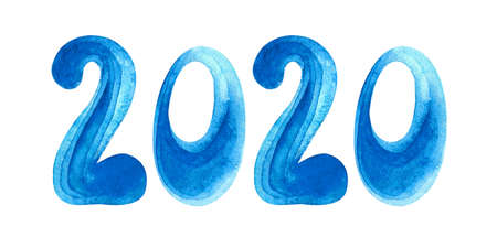 Logo 2020 Happy New year. Greeting card with blue lettering 2020 for your layout flyers and greeting cards or Christmas themed invitations. Watercolor illustration. Isolated on white background.