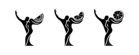Set of black and white silhouette of a dancing couple in vector. Monochrome logo for dance Studio. Latin, ballroom dancing. Label, sign, sticker. Man and woman dancing. Иллюстрация