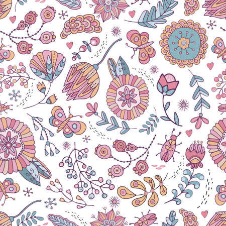 Seamless pattern flowers, grass, butterfly, beetle in vector. Boho style. Cute, hand-drawn, background for children s theme design, holidays, greetings, weddings. Doodle Rustic naive ornament