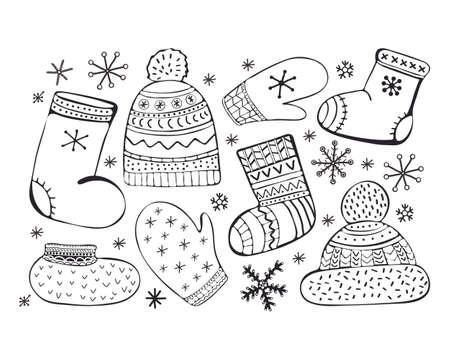 Set of cartoon vector illustration accessories. Winter icons. Socks, a cap with a pompom, mittens, valenki, shoes. Winter clothes. Hand drawn monochrome, black and white set. Ilustração