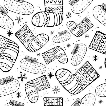 Seamless pattern knitted socks hand drawn line vector. Winter warm clothes. Black and white, monochrome decor line. Scrawl. Backdrop, background, fabric, Wallpaper. Hipster Fashion Vector. Ilustração
