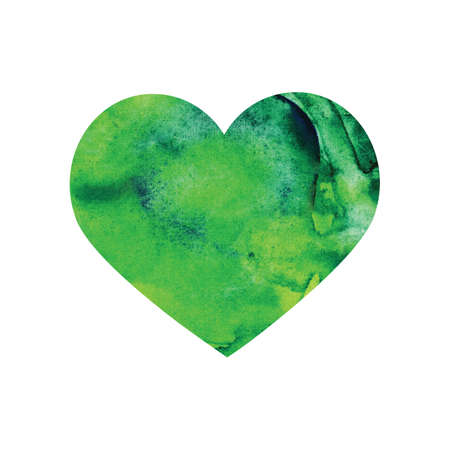 Watercolor green heart isolated on white background. Ecological concept, protection of nature, love of the forest and plants. Wet paint brush item for map, print, icon, text, label, icon Stock fotó