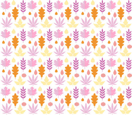 Seamless pattern with autumn leaves of oak, Rowan, birch, maple in orange, red, pink and yellow colors. Perfect for Wallpaper, gift paper, pattern fill, web page background, autumn greeting cards.