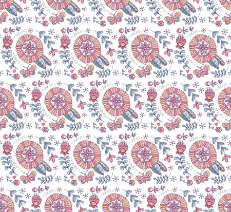 Seamless pattern of flowers and herbs in vector. Boho style. Cute, hand-drawn, background for childrens theme design, holidays, greetings, weddings. Doodle. Rustic, naive ornament. Фото со стока