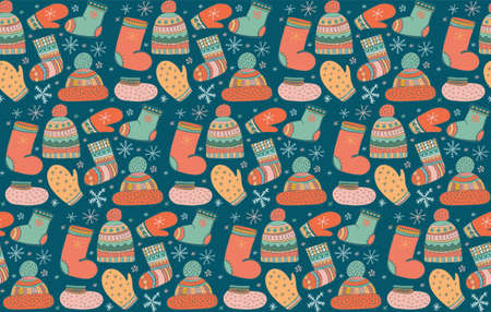 Cute vector seamless pattern with lots of winter warm clothes icons. Hat with pompom, mittens, socks, shoes. Winter knitted clothes in Scandinavian style. Doodle. Drawn naive style.
