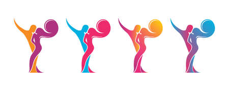 Set a colored silhouette of a dancing couple in vector. Logo for dance Studio in bright color, orange, pink, yellow, red, blue. Latino, ballroom dancing. Label, sign, sticker. Man and woman dancing. Foto de archivo - 129764020