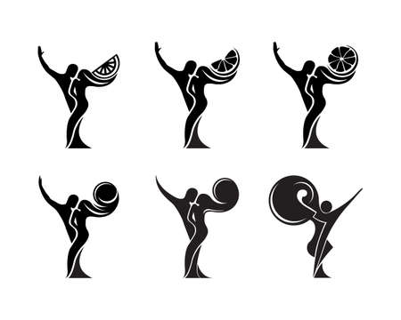 Set of black and white silhouette of a dancing couple in vector. Monochrome logo for dance Studio. Latin, ballroom dancing. Label, sign, sticker.