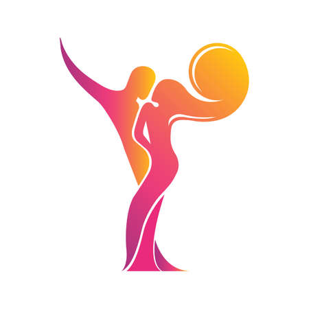 Colored silhouette of a dancing couple in the vector. Logo for dance Studio in bright color, orange, pink, yellow, red. Latino, ballroom dancing. Label, sign, sticker. Man and woman dancing. Foto de archivo - 129764022
