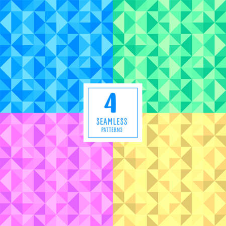 Set of seamless abstract polygonal vector background. Geometric vector illustration. Technical background for business in retro colors, yellow, blue, pink, green. Disko.