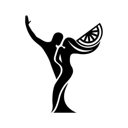 Black and white silhouette of a dancing couple in vector. Monochrome logo for dance Studio. Latin, ballroom dancing. Label, sign, sticker. Man and woman dancing. Иллюстрация