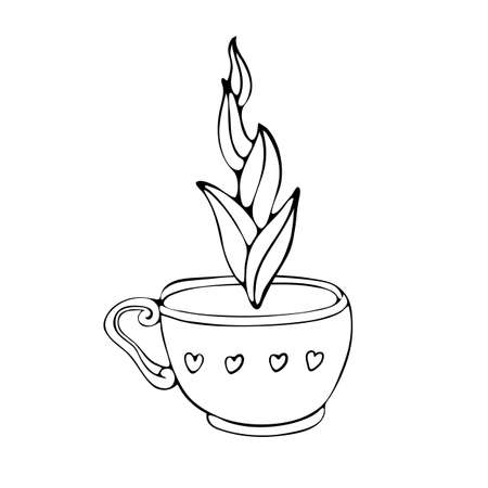 Hand drawn coffee Cup sketch and tea vector illustration. Black and white vector illustration drawn by line isolated on white background. Espresso, cappuccino, voice, latte, Irish, mocha. Cute Doodle