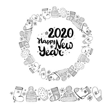 Round new year and Christmas banner. Round frame with Doodle elements and icons winter apparel and snowflakes. Lettering Happy new year 2020. Black and white vector illustration. Christmas design.