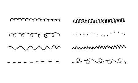 Set of artistic pen brushes. Hand drawn grunge strokes. Vector illustration. Doodle lines, curves and borders vector. Pencil effect sketch isolated on white.
