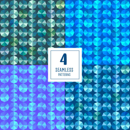 Set of seamless pattern with gems vector. Abstract seamless mosaic. Gems in blue tones on white background. Vector illustration for your design, printing, textile, Wallpaper or wrapping paper. Ilustração