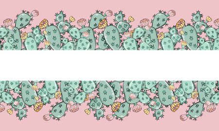 Horizontal banners template with cactus and flowers on pink background with space for text. Vector illustration for sale or advertising. Design for banner, greeting card, social networks, website.