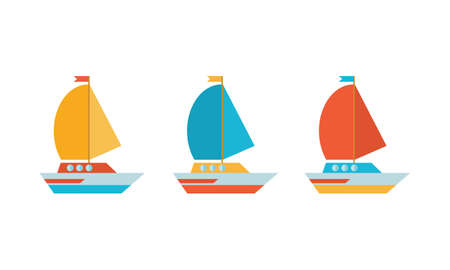 Set of icons in a flat vector. Yellow, blue and red yacht, boat, sailboat. Travel by sea transport. Isolated objects on white background