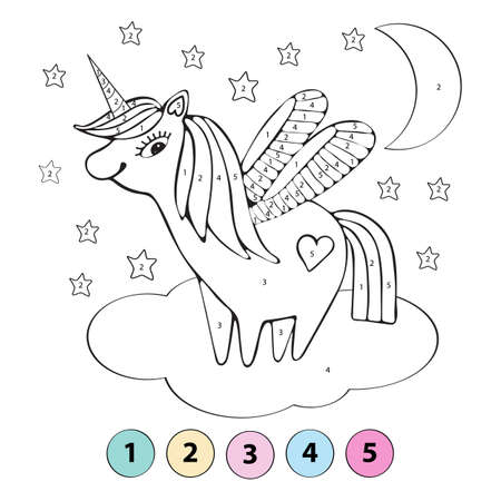 Educational children game. Color the picture by number. Coloring book. A cute unicorn flies on a cloud among the stars. Vector hand drawn illustration for children. Illustration