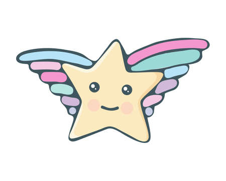 Kawaii star vector. Cute cartoon star with wings and smile. Cute star illustration for kids. Design children, stickers. Baby shower little stars in kawaii style. Isolated object on white background. Illustration