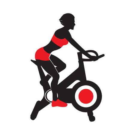 Femmes sur vélo d'entraînement. Entraînement stationnaire sur vélo d'appartement. Concept sain et mode de vie bien-être. Objet isolé sur fond blanc. Illustration vectorielle. Entraînement, illustration vectorielle de formation.