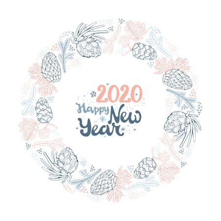 Christmas wreath with branches and pine cones. Lettering happy new year. Hand drawn design for your greeting cards, banners, leaflets. Vector illustration in cute vintage style.