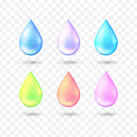 Set of multicolored realistic style water drop in vector. 3d realistic vector illustration. Glitter water drop of blue, turquoise, pink, purple, green with effects isolated on transparent background.