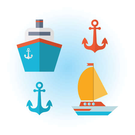 Set of icons of sea transport in a flat vector. Yacht, boat, sailboat, anchor, cruise ferry, ship. Voyage. Isolated objects on white background