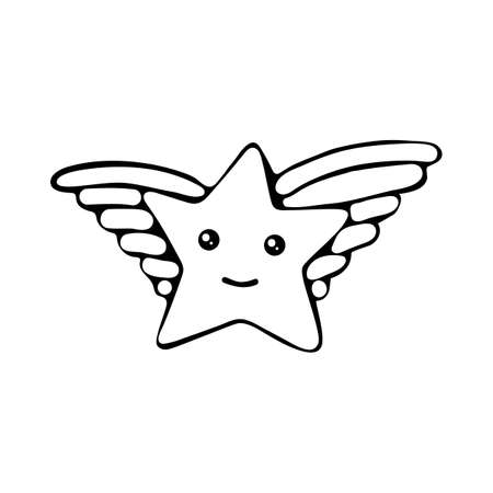 Kawaii star vector. Cute cartoon star with wings and smile. Cute star illustration for kids. Design children, stickers. Black and white graphic line. Coloring for kids. Illustration