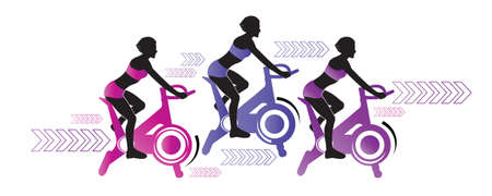 Women on training bike. Stationary exercise bike workout. Healthy concept and wellness lifestyle. Isolated object on white background. Vector illustration. Workout, training vector illustration.
