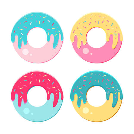Donut vector set isolated on a white background. Sweet doughnut collection with bright, multicolored glaze. Modern icons in a flat vector. Top view. artoon.