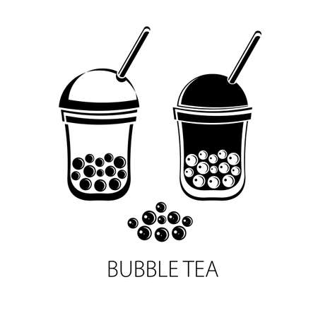 Bubble Tea, Pearl milk tea, black and white pearls. Taiwanese drink. Tapioca. Isolated object on white background in vector. Icon tea drink. Flat vector. Black and white silhouette.