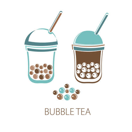 Bubble Tea, Pearl milk tea, black and white pearls. Taiwanese drink. Tapioca. Isolated object on white background in vector. Icon tea drink. Flat vector.