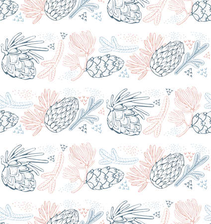 Seamless vector pattern with pine, conifer, cedar cones and branches.Hand drawn vector illustration on white background with graphical elements, strokes, points.Vintage style. Christmas gift wrapping. Banco de Imagens
