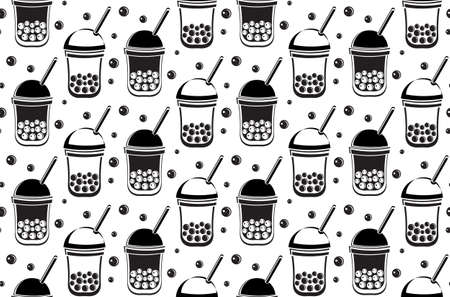 Seamless pattern Bubble Tea, Pearl milk tea, black and white pearls. Taiwanese tea-based drink with chewy tapioca ball which also known as pearls, or bobals. Black and white background in vector.