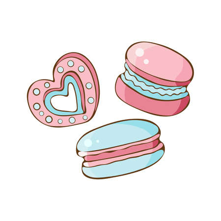 Set of sweets, cookies, marshmallow, macaron in vector. Sweet pastries and pastry isolated on white background. Hand drawn in vintage style. Delicate, pastel pink and blue colors. Illustration