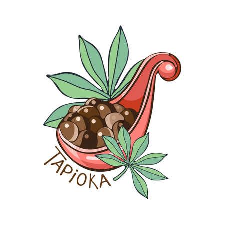 Perles noires de tapioca pour le thé à bulles isolés sur fond blanc. Illustration vectorielle de boules de tapioca dans un style plat simple de dessin animé. Cuillère de boules de tapioca. Feuilles de tapioca ou de manioc.