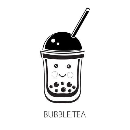 Cute kawaii character black Tapioca pearls. Bubble tea. Cartoon vector illustration of ball tapioca or boba. Boba tea, milk tea, Taiwanese drink. Hand drawn Doodle. Black and white. Asian product. 일러스트