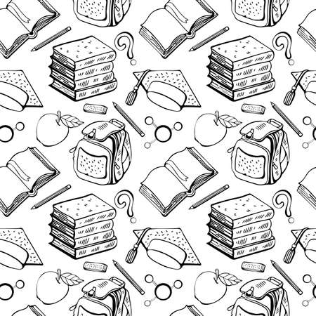 Seamless school pattern in vector on white background. Hand-drawn background of school subjects, book, textbook, briefcase, pencil, eraser, Apple, cap student. Black and white line drawing. Doodle.