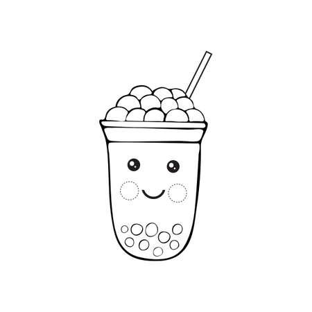 Cute kawaii character black Tapioca pearls. Bubble tea isolated on white background. Black-white cartoon vector illustration of ball tapioca or boba. Boba tea, milk tea, Taiwanese drink. Doodle