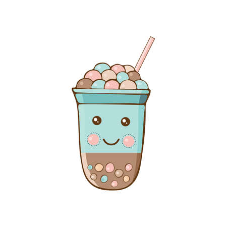 Cute kawaii character black Tapioca pearls. Bubble tea isolated on white background. Cartoon vector illustration of ball tapioca or boba. Boba tea, milk tea, Taiwanese drink. Hand drawn Doodle.