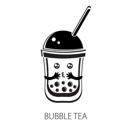 Cute kawaii character black Tapioca pearls. Bubble tea. Cartoon vector illustration of ball tapioca or boba. Boba tea, milk tea, Taiwanese drink. Hand drawn Doodle. Black and white. Asian product. Иллюстрация
