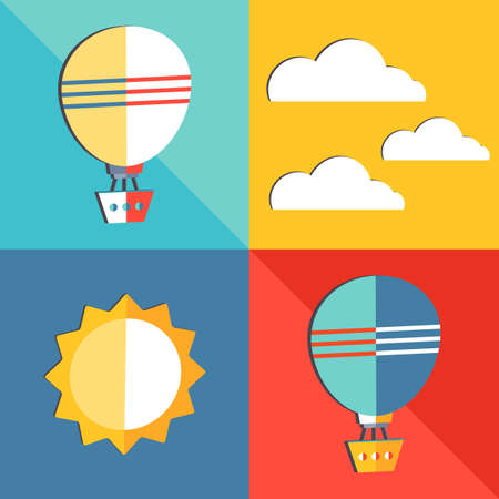 Set of air transport icons in flat style. Vector illustration Air balloon, aerostat, sun and clouds. Travel by air transport. Ready set for posters, websites, cards in a modern simple style. Isolated objects on white background