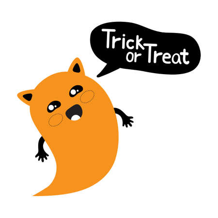 Cute cartoon cat Ghost says trick or treat. Kawaii character for a fun Halloween in vector. Vector graphics. Adorable, cute illustration for greeting card. Halloween icon logo.