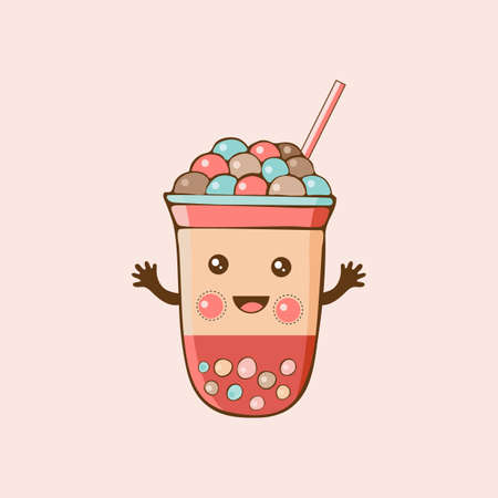 Cute kawaii character black Tapioca pearls. Bubble tea. Cartoon vector illustration of ball tapioca or boba. Boba tea, milk tea, Taiwanese drink. Hand drawn Doodle.